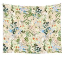 Retro Tropical Flowers Wall Tapestry