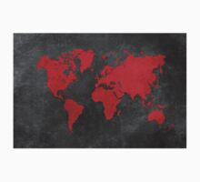 World map black and red One Piece - Short Sleeve