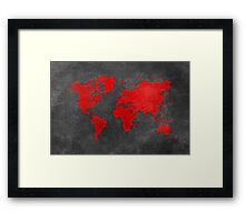 World map black and red Framed Print