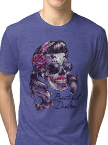 "Sugar Skull "" Beautiful Disaster"" Tri-blend T-Shirt"