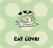 Kitty, Cat Love, Hearts - Black Green  by sitnica