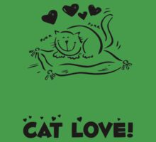 Kitty, Cat Love, Hearts - Black Green  Kids Clothes