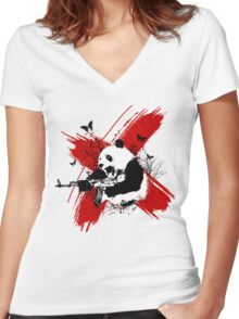 Panda love style Women's Fitted V-Neck T-Shirt