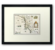1635 Map of North East Coast - New York, Cape Cod, Virginia, Manhattan, Quebec Framed Print