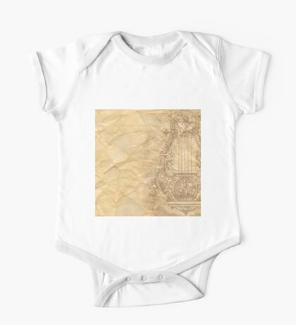 Rustic,crumbled,parchment paper,old,worn,grunge,vintage,victorian,reproduction One Piece - Short Sleeve