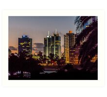 Montevideo Cityscape Scene at Twilight Art Print