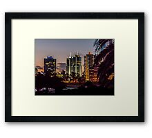 Montevideo Cityscape Scene at Twilight Framed Print