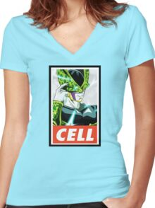 (DRAGON BALL Z) Cell Women's Fitted V-Neck T-Shirt
