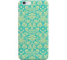French Damask, Ornaments, Swirls - Blue Yellow  iPhone Case/Skin