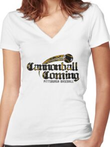 Clear the deck. Cannonball Coming! Women's Fitted V-Neck T-Shirt