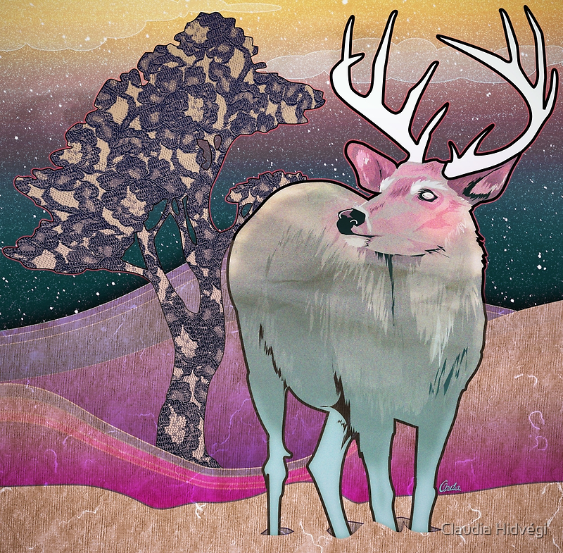 Turquoise Deer by Claudia Hidvégi