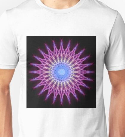 Lightning mandala in pink, blue and yellow pastel tones Unisex T-Shirt