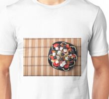 Top view of fresh vegetarian salad on a black square plate Unisex T-Shirt