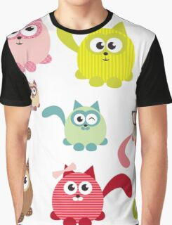 Cute cartoon cats,super girly,kawaii,trendy,modern,colorful Graphic T-Shirt