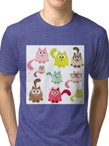 Cute cartoon cats,super girly,kawaii,trendy,modern,colorful Tri-blend T-Shirt