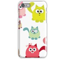Cute cartoon cats,super girly,kawaii,trendy,modern,colorful iPhone Case/Skin