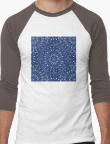 Blue White Mandalas Men's Baseball ¾ T-Shirt