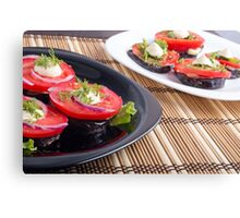Vegetable dishes of stewed eggplant and fresh red tomato close-up Canvas Print