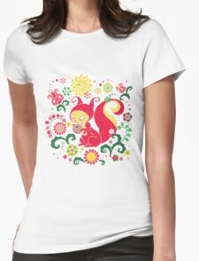 RED Squirrel with Nut. Russian Background. Transparent.  Womens Fitted T-Shirt