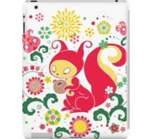 RED Squirrel with Nut. Russian Background. Transparent.  iPad Case/Skin