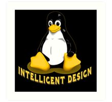 Linux Penguin Intelligent Design Art Print
