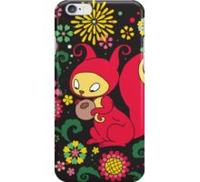 RED Squirrel with Nut. Russian Background. BLACK.  iPhone Case/Skin