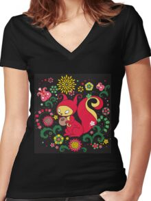 RED Squirrel with Nut. Russian Background. BLACK.  Women's Fitted V-Neck T-Shirt