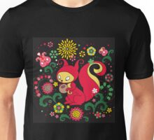 RED Squirrel with Nut. Russian Background. BLACK.  Unisex T-Shirt