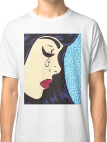 Black Bangs Crying Comic Girl Classic T-Shirt
