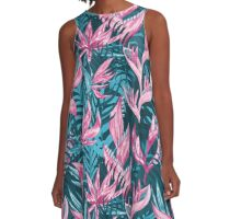 Hand draw tropical flowers  A-Line Dress