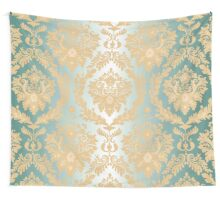 Gold,green,mint,damask,damasks,vintage,pattern,victorian, Wall Tapestry