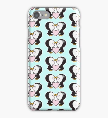 Cute pinguins,pinguins in love,kissing,heart,pink,mint,white,black iPhone Case/Skin
