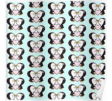 Cute pinguins,pinguins in love,kissing,heart,pink,mint,white,black Poster
