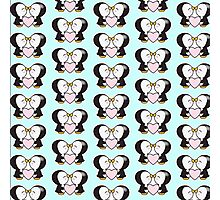 Cute pinguins,pinguins in love,kissing,heart,pink,mint,white,black Photographic Print