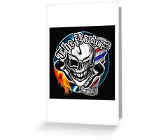Barber Skull with Flaming Razor Greeting Card