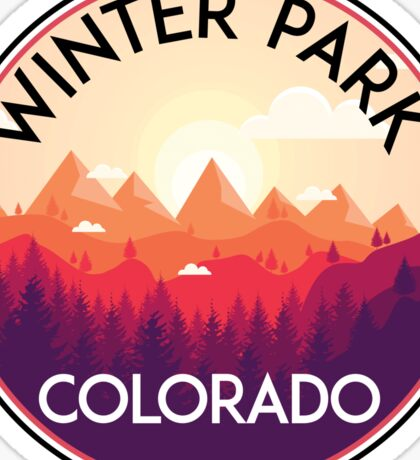 WINTER PARK COLORADO Ski Skiing Mountain Mountains Skiing Skis Silhouette Snowboard Snowboarding 2 Sticker