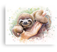 Baby Sloth Watercolor | Animal Art Canvas Print
