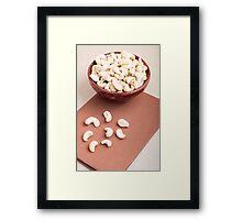 Raw cashew nuts for vegetarian food Framed Print