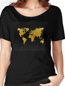 Gold and Black World Map Women's Relaxed Fit T-Shirt