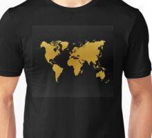 Gold and Black World Map Unisex T-Shirt