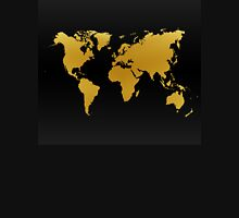 Gold and Black World Map Unisex T-Shirt
