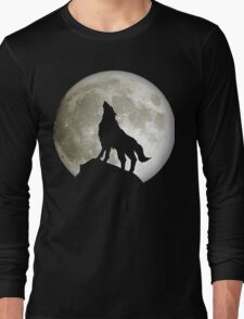 Super Moon and Wolf t-shirts Long Sleeve T-Shirt
