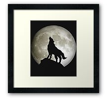 Super Moon and Wolf t-shirts Framed Print