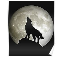 Super Moon and Wolf t-shirts Poster