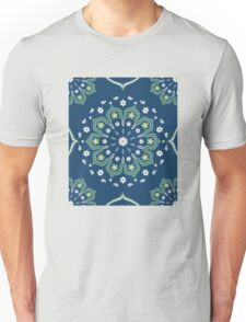 Blue White Green Mandala Design Unisex T-Shirt