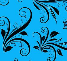 French Damask, Ornaments, Swirls - Blue Black by sitnica