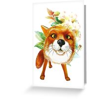 Fox Roses. Watercolor Greeting Card