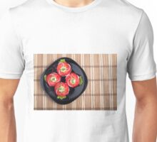 Top view of a dish with fresh sliced tomatoes, lettuce and onion Unisex T-Shirt