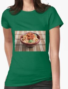 Thin spaghetti with tomato relish and basil leaves Womens Fitted T-Shirt