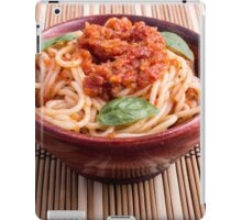 Thin spaghetti with tomato relish and basil leaves iPad Case/Skin